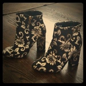 Gold/Black tapestry booties